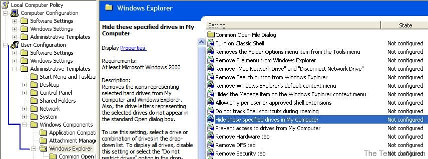 Hide drives in My Computer