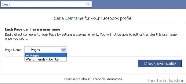 setting username for pages in facebook