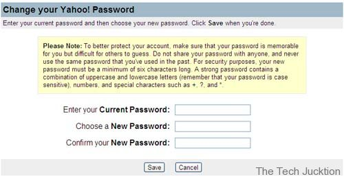 yahoo account password change window