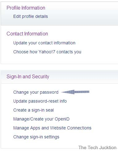 yahoo account password change settings