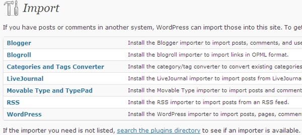 wordpress blog import feature