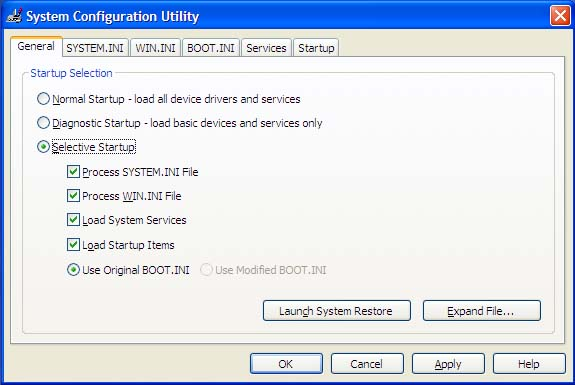 Windows System Configuration Utility