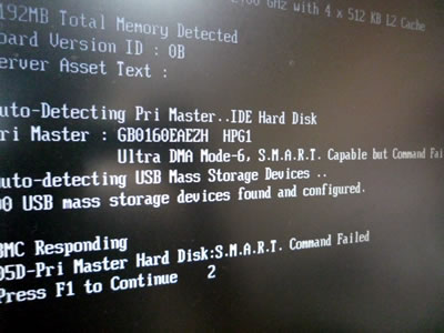 Hard Disk S.M.A.R.T Command Failed
