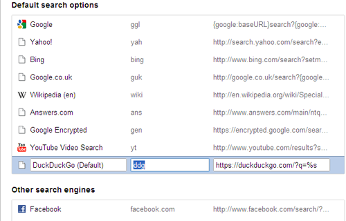 google chrome search settings