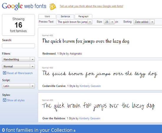 google web fonts search