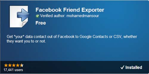 Chrome Facebook Friend Exporter