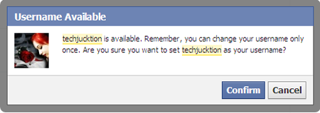 change facebook username confirmation