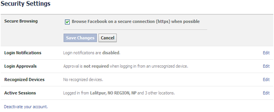 enable facebook secure browsing