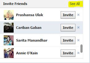 facebook invite see all