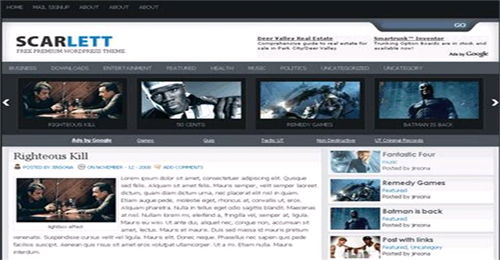 scarlett free wordpress magazine theme