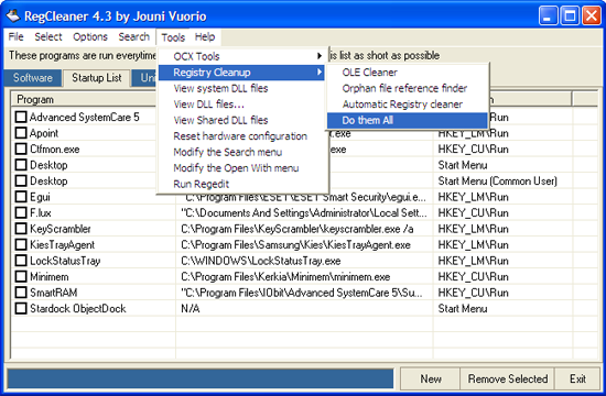 windows registry cleaner