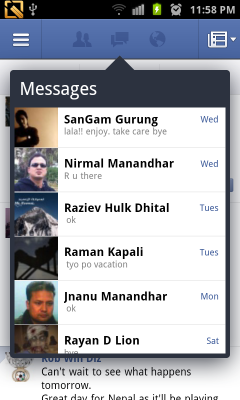 facebook messages on android