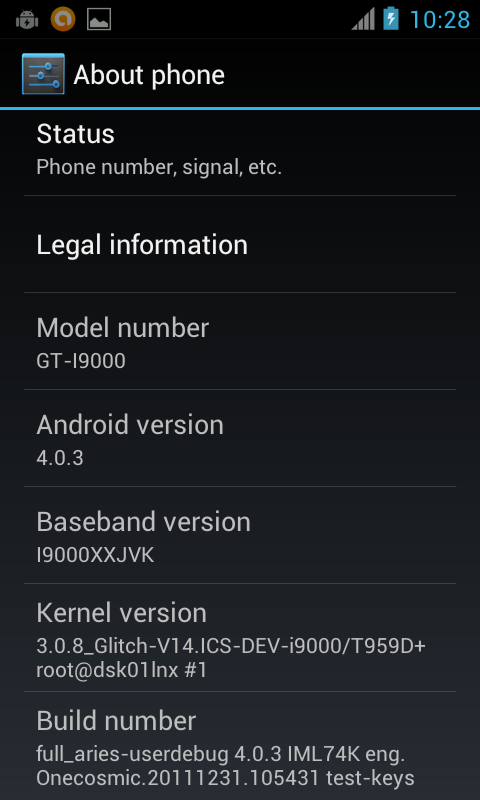 Samsung Galaxy S i9000 with ICS