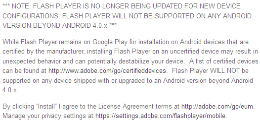 adobe flash player android notice