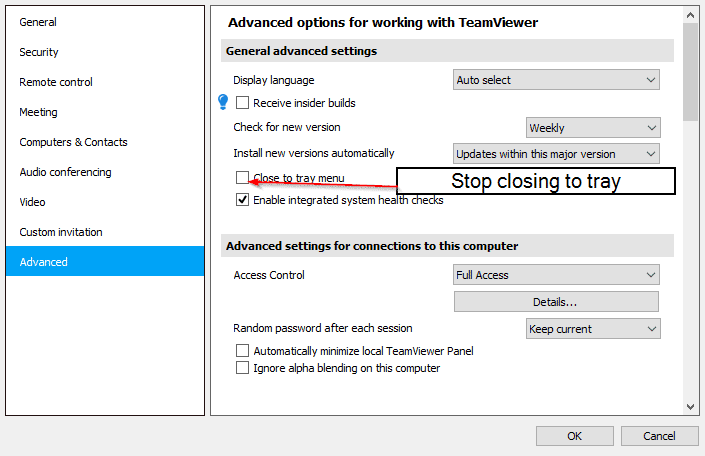 Stop teamviewer tray stay