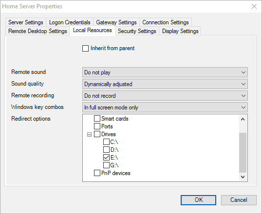 remote desktop connection manager local resource settings