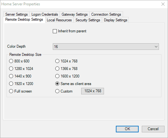 remote desktop connection manager settings