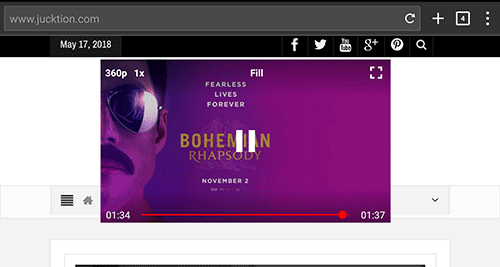 Newpipe youtube floating player interface