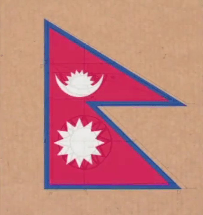 Nepal Flag Coloured