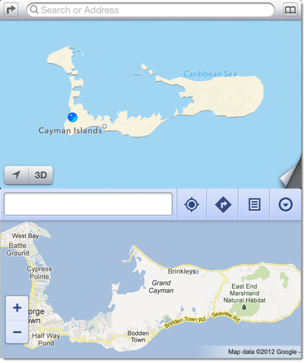 Cayman Islands on iOS6 Maps vs on Google Maps