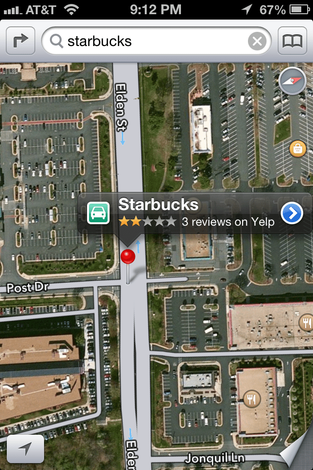 Starbucks on the middle of a road