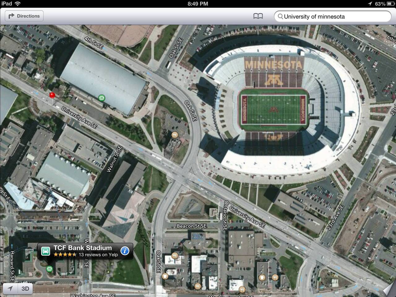 TCF Bank Stadium should be somewhere around here