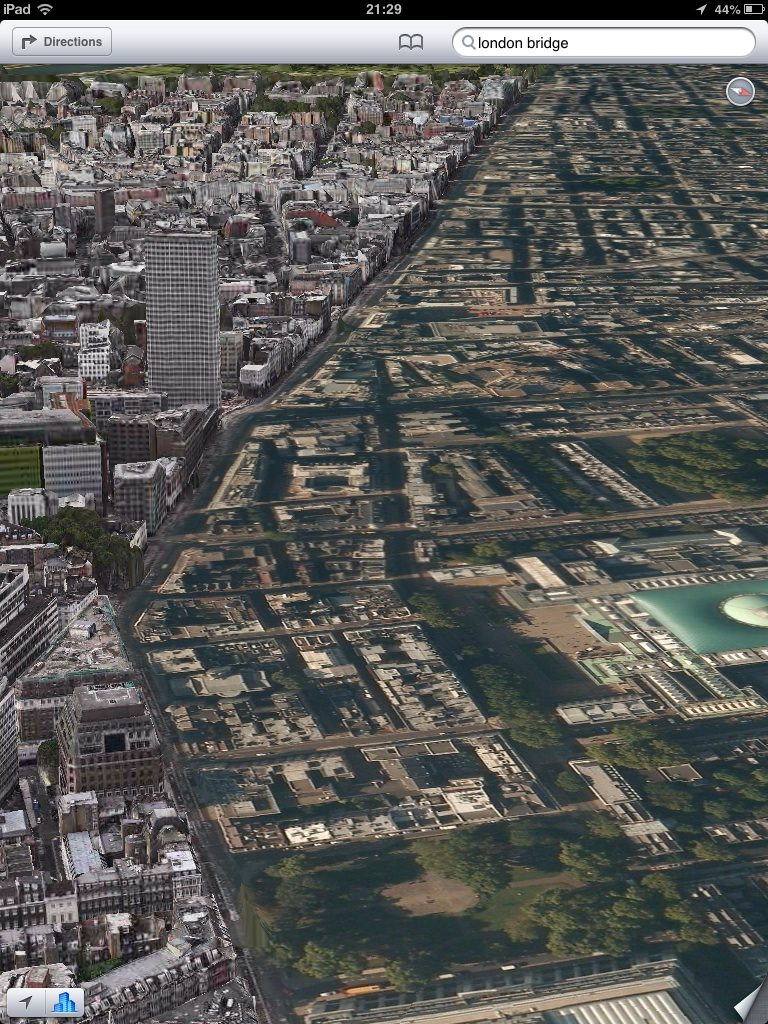 half of london goes flat with Apple Maps