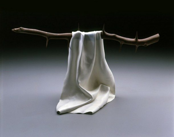 A cloth hanging from a branch