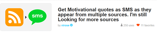 IFTTT recipe that sends motivational quotes sent to you in SMS