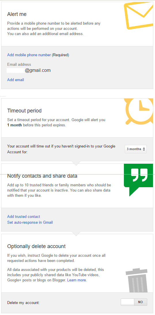 google inactive feature options