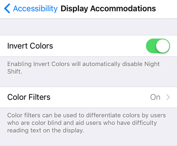 iphone display accomodations setting