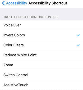iOS accessibility shortcuts night mode