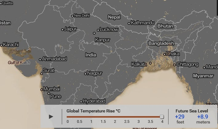 global warming sea rise Nepal