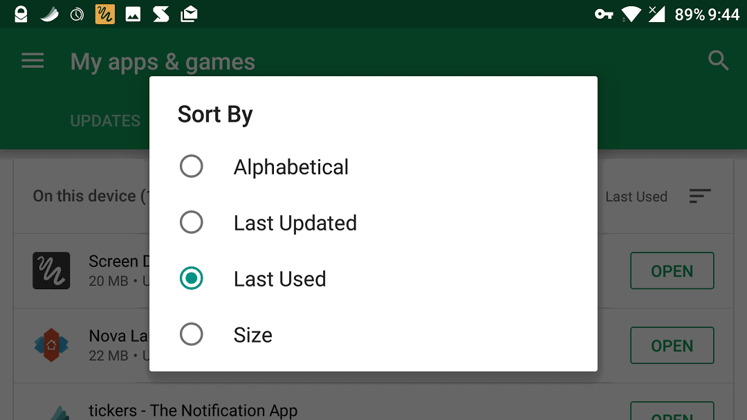 sort rarely used apps on Android