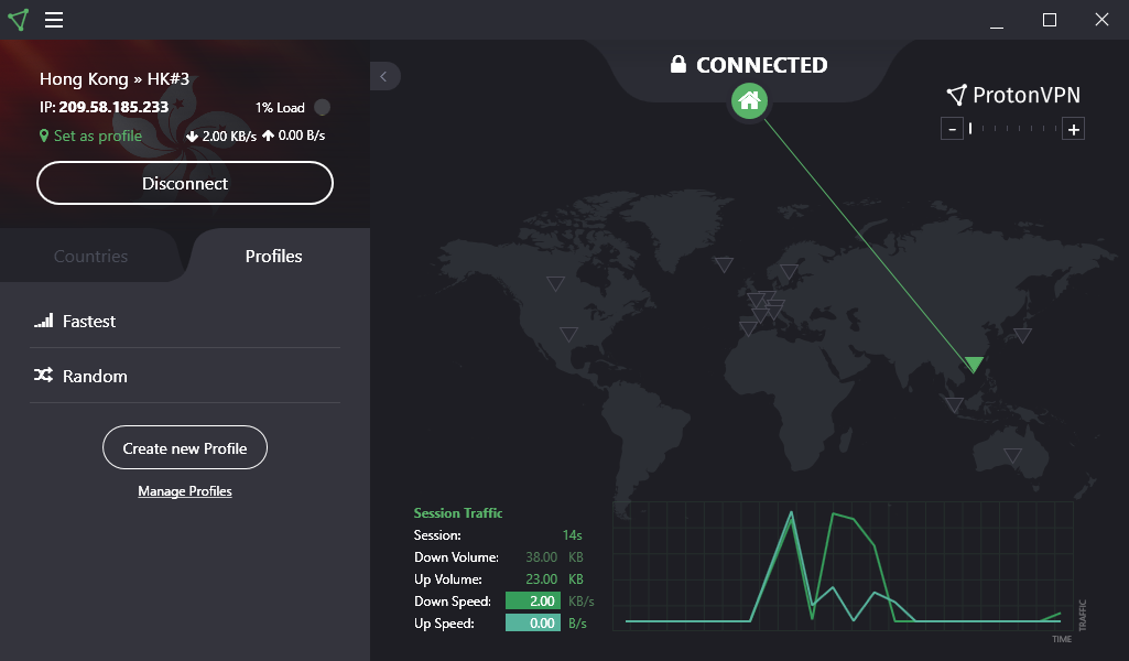ProtonVPN Automatic Server Connection Profiles