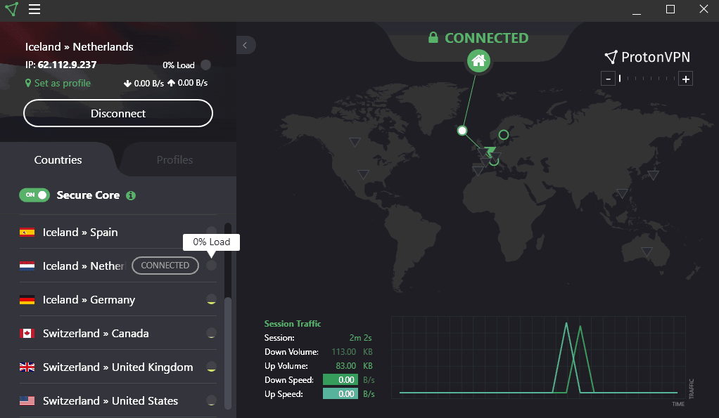 ProtonVPN Secure Core Connection