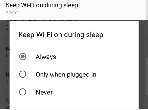 Android WiFi Settings during Sleep