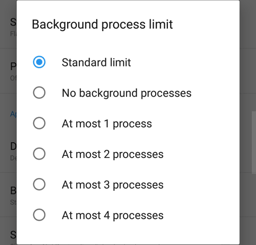 android background process limit