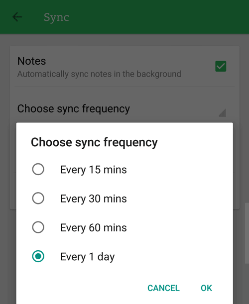 android sync settings for evernote