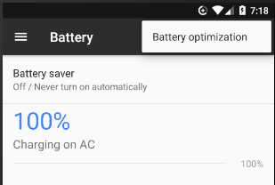 battery optimization settings on Android