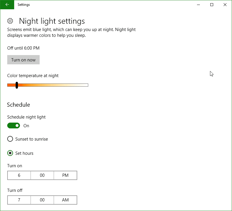Windows Night Light Settings on Windows 10