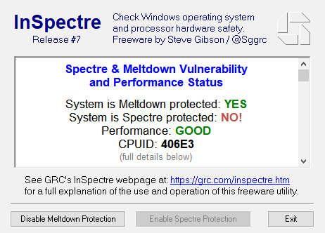 InSpectre showing system vulnerable to Spectre