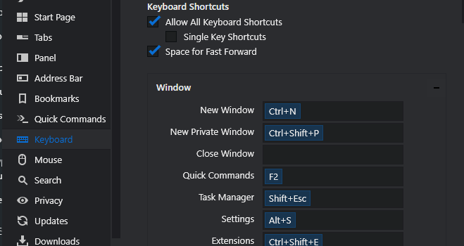Vivaldi Shortcuts customization