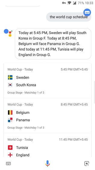Google Assistant World Cup 2018 Schedule