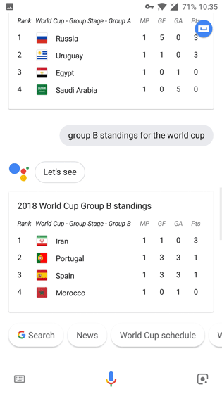 Google Assistant World Cup 2018 Group Standings