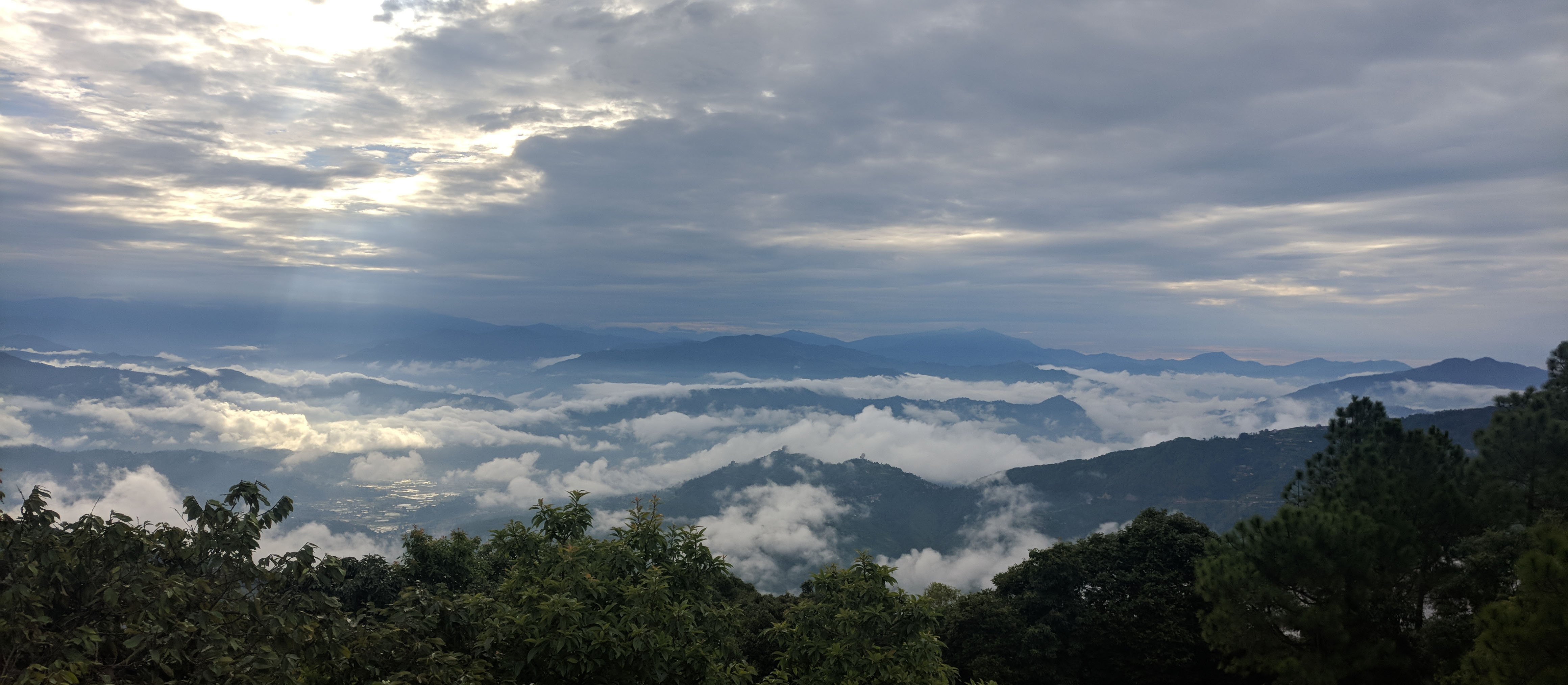 banepa gosaithan hilltop view east patchy cloudy